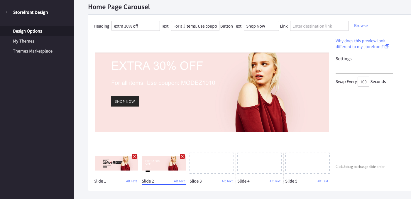 Edit homepage carousel