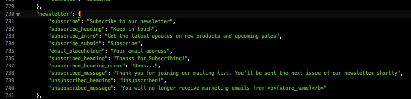 Edit language for newsletter text
