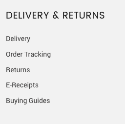 footer delivery & returns